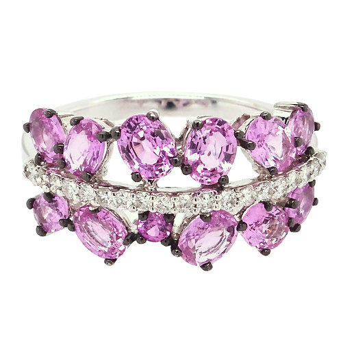 Diamonds and Pink Sapphire Ring