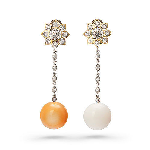 18K Gold The Sun and The Moon Earrings