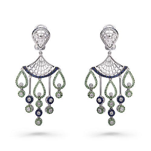 18K Gold Dancing Princess Earrings with Diamonds, Tsavorites and Sapphires