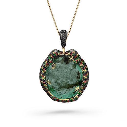18K Gold Gila Pendant with Emeralds, Tsavorites, Sapphires and Diamonds