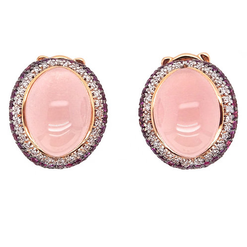 Pink Quartz and Diamond Earrings