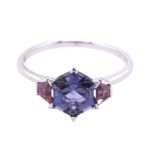 18K Gold Ring with Mystic Lavender Trapezoid Spinel and Lavender Hexagon Spinel