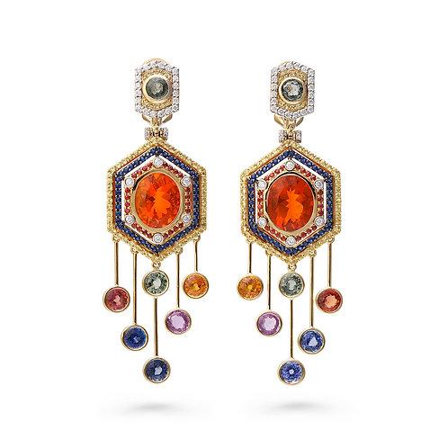 18K Gold Maasai Mara Earrings with Fire Opal