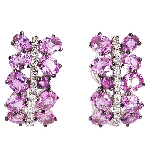 Diamond and Pink Sapphire Earrings