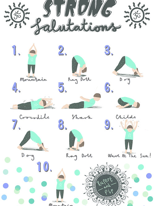 """The Strong Salutation!"" Yoga Poster A3."