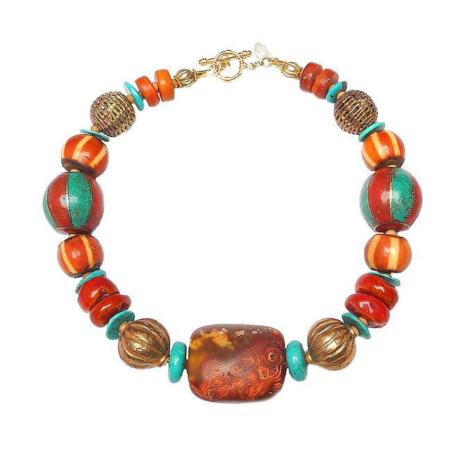 A Bold and Rich Necklace of many Cultures and Elements