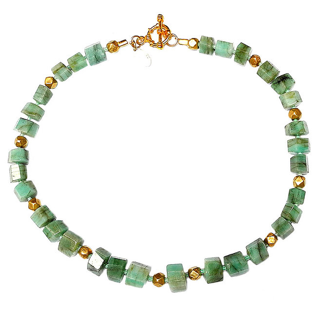 When Emeralds Mix with 18CT Gold, a Roman Necklace Emerges