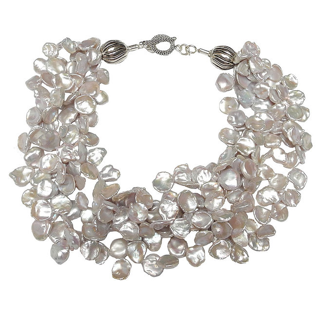 Stunning Collar of Multi Strand Silver/Grey Keshi Pearls