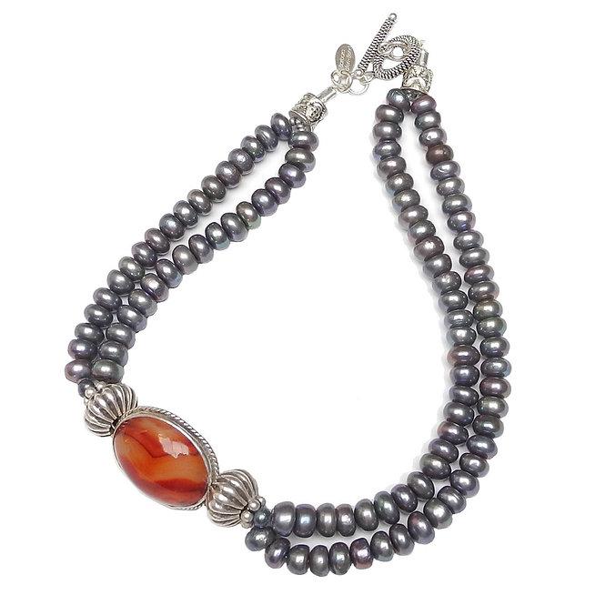 Elegance in Pearls & Carnelian Set in Antique Silver