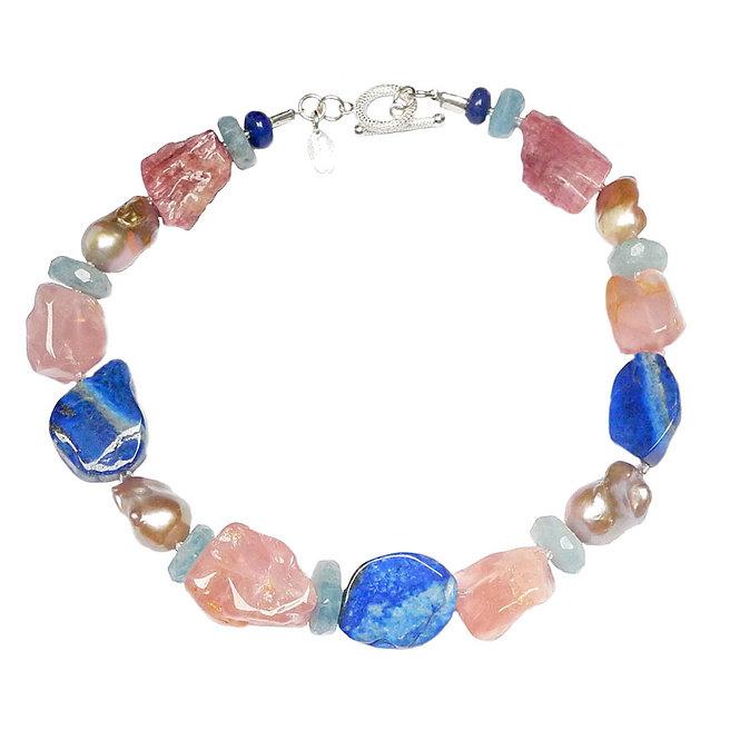 A Pretty, Eye Candy Necklace of Lapis, Tourmaline, Aqua & Pearl