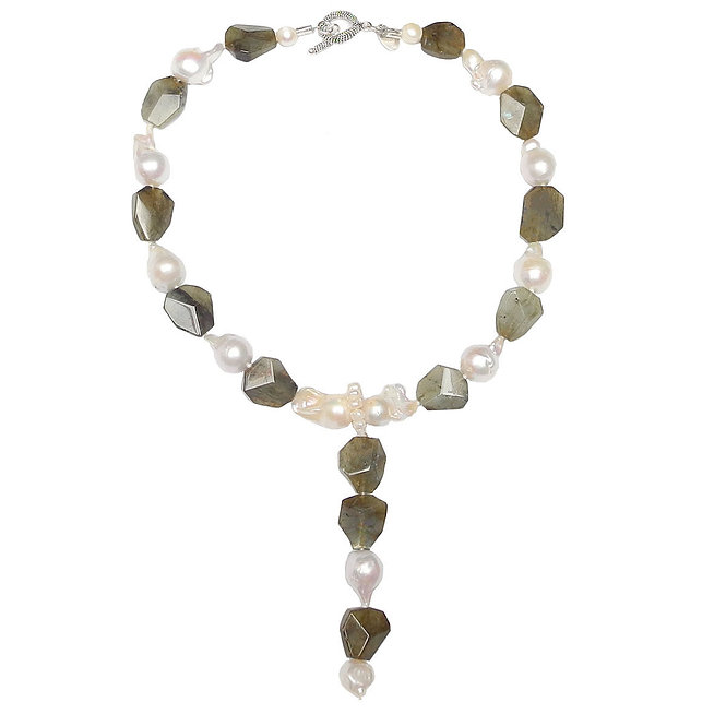 Fashionable  Labradorite & Pearl Necklace  Takes You Anywhere