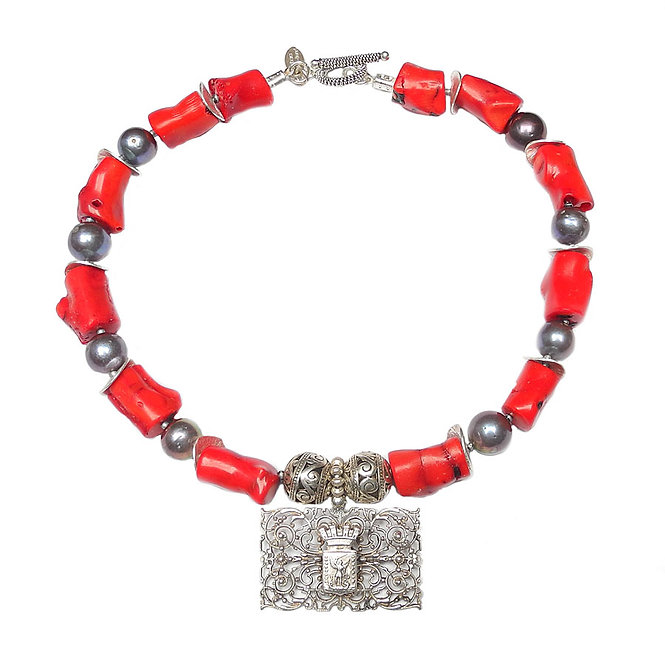 Exquisite, French Victorian, Silver Pendant Graces a Necklace of Coral and Pearl