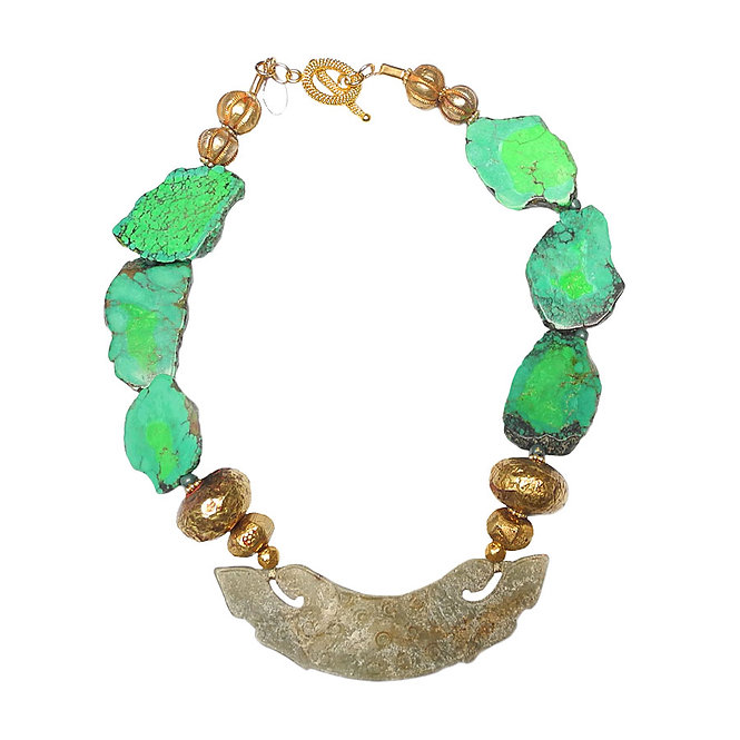 Make an Entrance with Necklace of Rare, Green Turquoise, Antique Jade, & Gold
