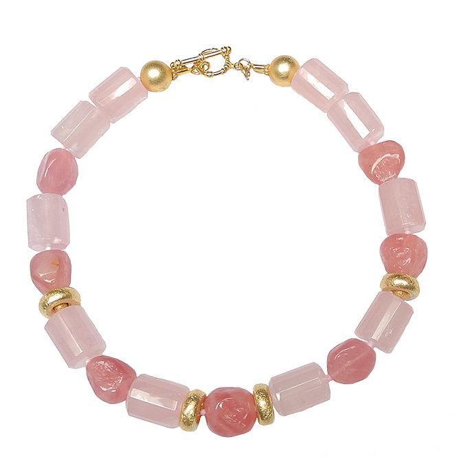 A Cool, Chic, Rose Quartz & Gold Necklace