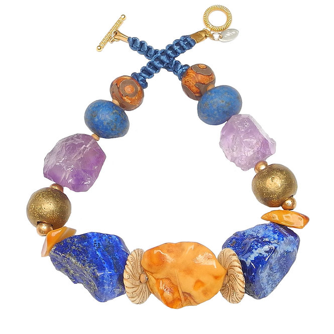 A Bold Statement in Amber, Lapis, Amethyst & Brass