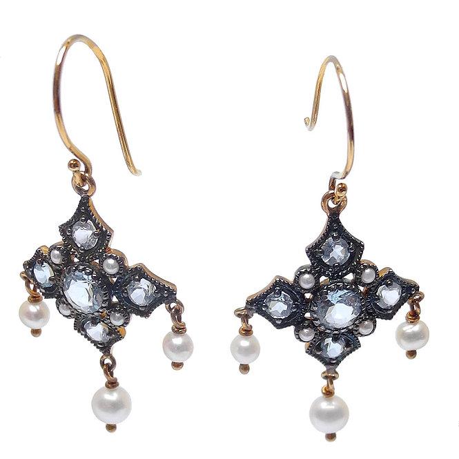 Blue Topaz & Pearl Earrings, Dangle In the Moonlight