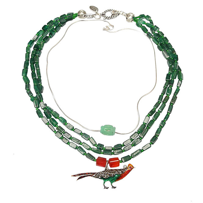 Layered Necklace of  Enchanting Enamel Pheasant on Strands of Emerald Aventurine