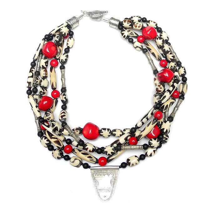 Distinctive African Batik Beads of Bone with, Antique Silver & Coral
