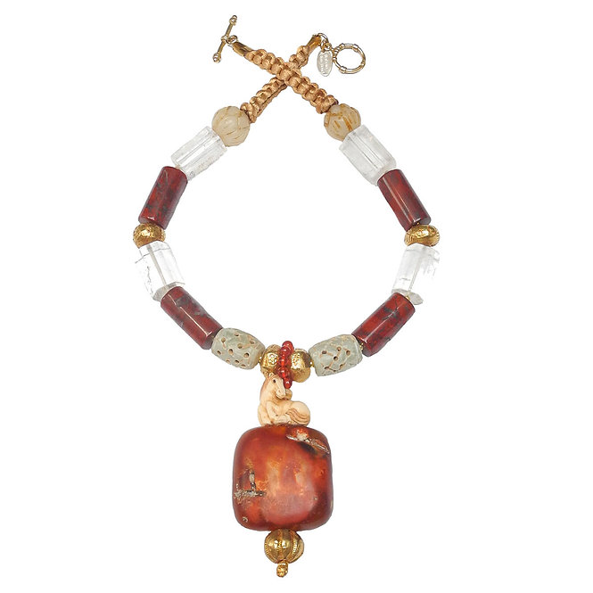 Unforgettable Necklace of a Horse Sitting on Ancient Carnelian & 18CT Gold