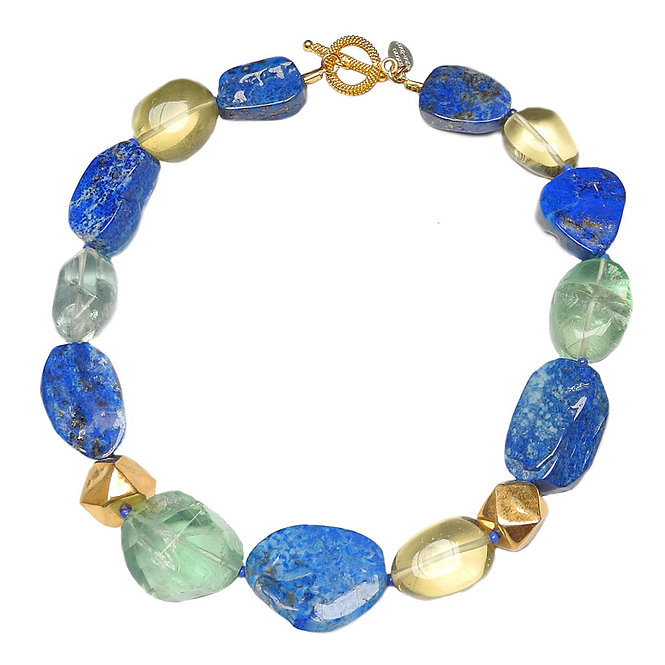 An Enticing Necklace of Lustrous Lapis, Sunny Citrine, & Sea/Green Fluorite