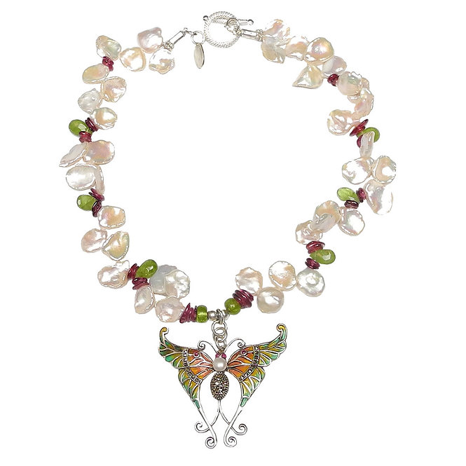Exquisite Ruby & Pearl Butterfly Flits Along with Keshi Pearls & Tourmaline