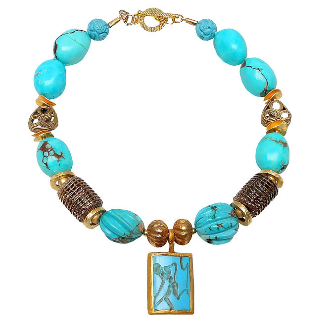 The Ancient Runner in Turquoise Necklace