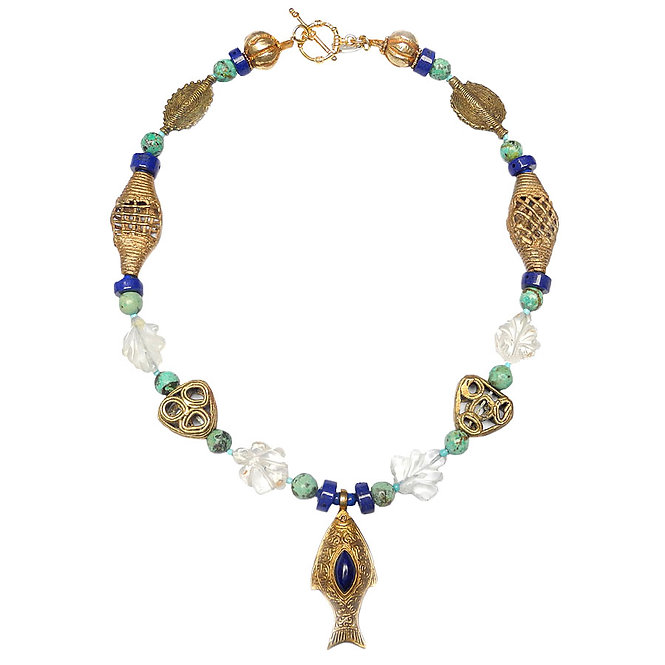 A Fish Swims on a Necklace of Antique Crystal, Brass & Lapis