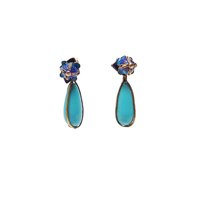 Vintage, Chinese Enamel Studs with a Dangle of Turquoise Teardrops,
