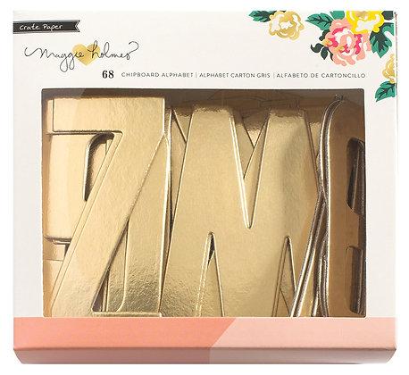Shine Foil Alpha Chipboard - Gold