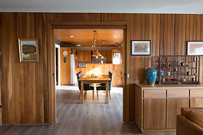 Open space living, dining, luxury accommodaton with Tasmanian wood cladding