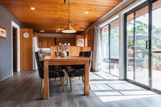 Huon pine dining room and kitchen