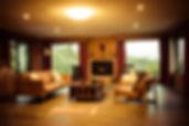 Luxury accommodation Hobart living room fireplace