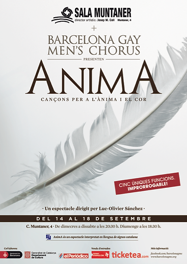 Cartel espectáculo Anima Barcelona Gay Men's Chorus