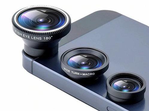 """Juego de lentes:  """"Ojo de pez""""+Macro+Gran Angular (3 en 1) para Iphone y Samsung"""