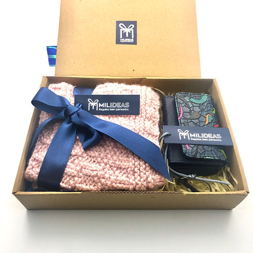 Kit Cuello tejido Rosado + Pocket Bag Azul