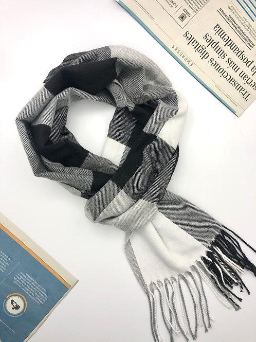 Bufanda Unisex en algodón con diseños geométricos (Gris/Negro/Blanco)