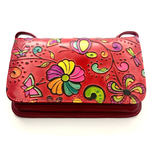 Bolso Pequeño Rojo Flores