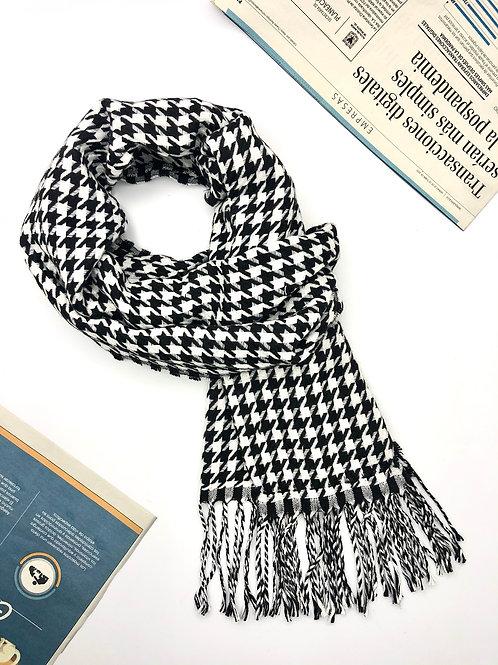 Bufanda Unisex en algodón con diseños geométricos (Blanco/Negro)