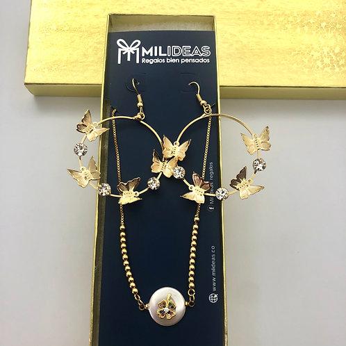Pulsera Cover Gold + Aretes Mariposas Dorados