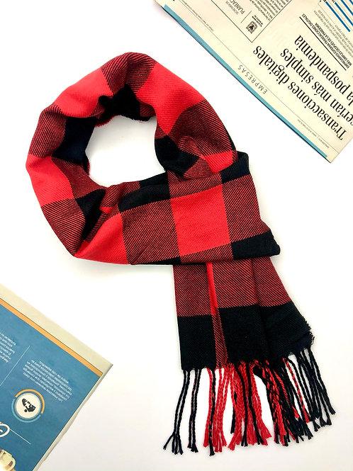 Bufanda Unisex en algodón con diseños geométricos (Rojo/Negro)