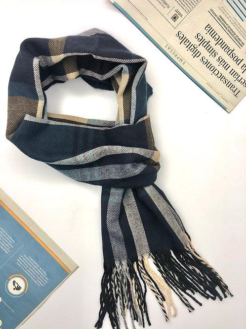 Bufanda Unisex en algodón con diseños geométricos (Azul/Beige/Café)