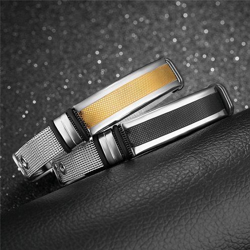 Pulsera para Hombre en acero inoxidable. Diseño minimalista con cierre de correa