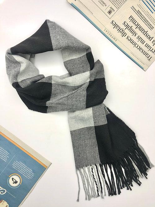 Bufanda Unisex en algodón con diseños geométricos (Negro/Gris)