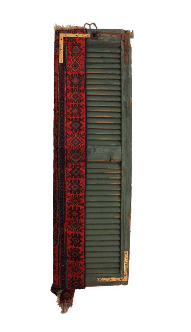 Persian Marriage - Sposi Persiani #01  Persian Carpet, gold leaf and old Italian shutter  51 x 187 cm 2015