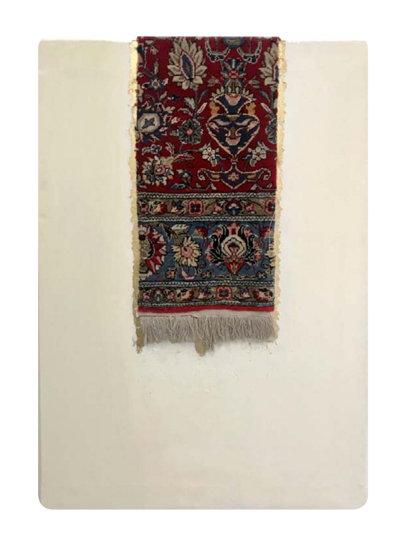Katibeh #03   Persian carpet with layer of gold leaf on canvas  85 x 120 x 5 cm  2015