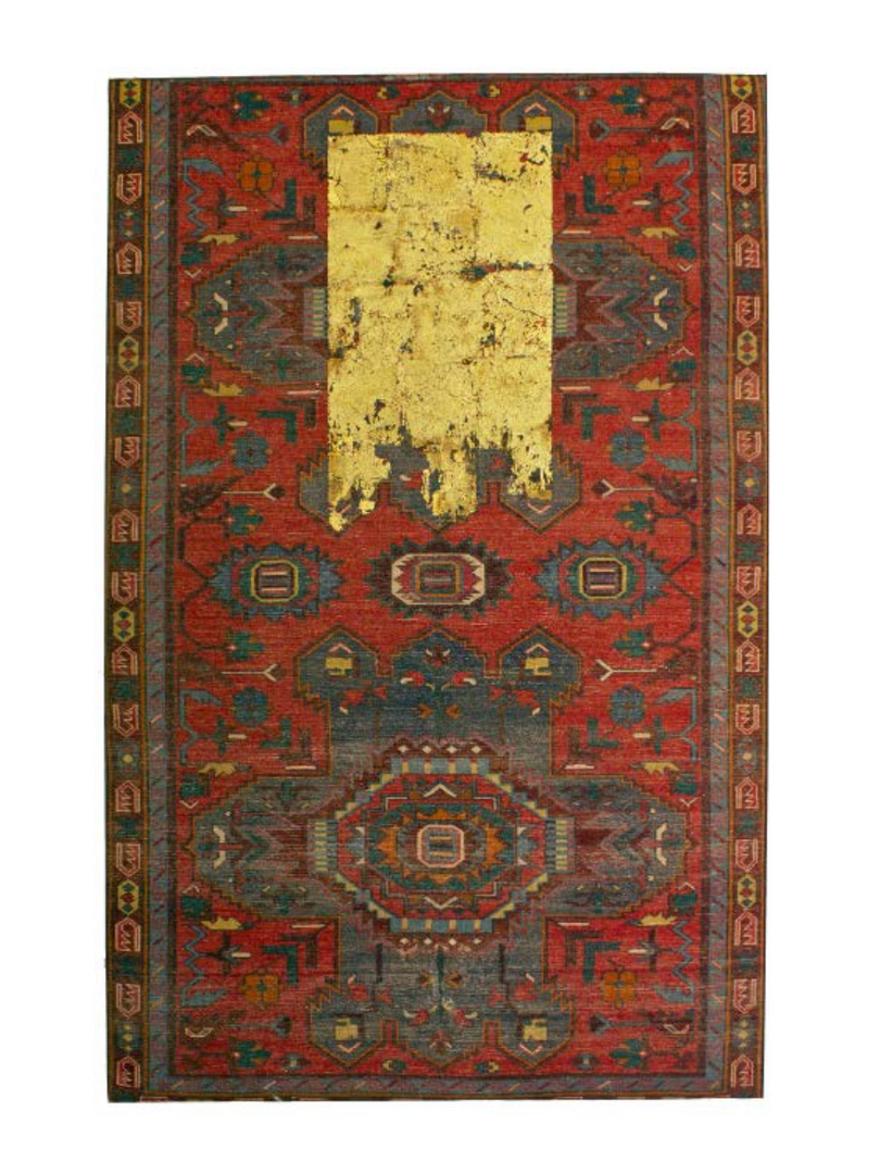 Katibeh #02   Persian carpet with layer of gold leaf  121 x 200 x 5 cm  2015