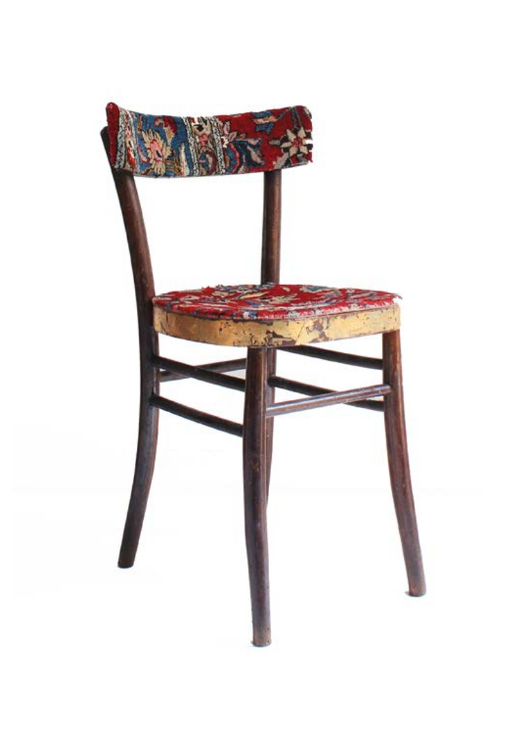 Empathy Chair Collection #01   Persian Carpet, gold leaf and old Italian chair  80 x 44 x 46 cm  2015