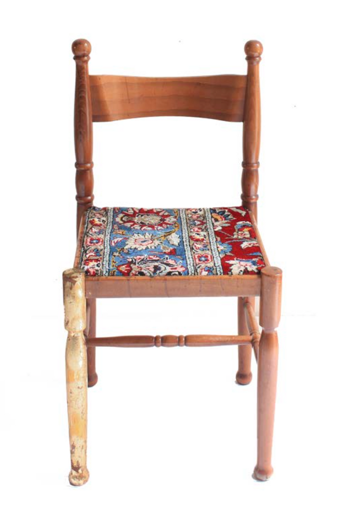 Empathy Chair Collection #02  Persian Carpet, gold leaf and Italian chair  80 x 44 x 46 cm 2018