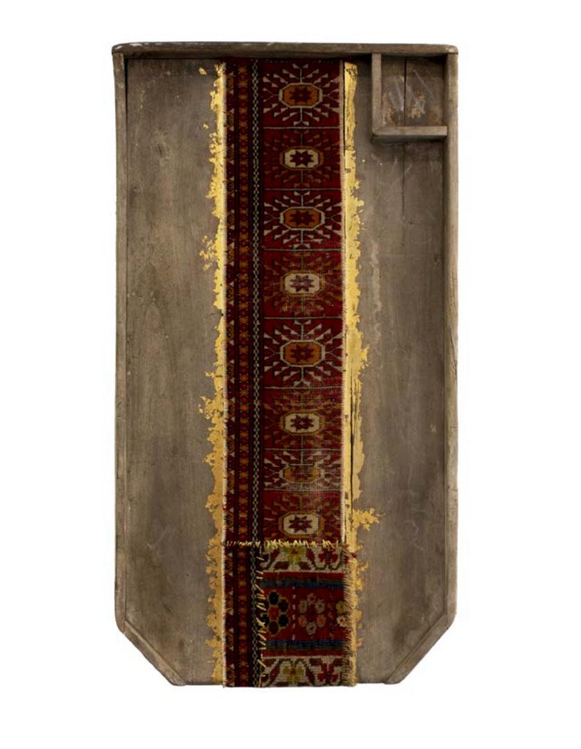 Lavatoio di Legno   Persian Carpet, gold leaf and old wooden washbasin 54 x 103 x 9.5 cm 2016