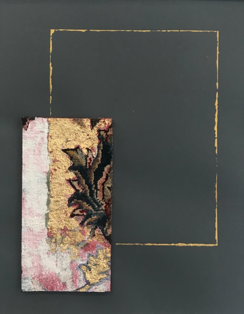 Katibeh #06   Persian carpet with layer of gold leaf and oil color  13 x 25 cm in frame  2018
